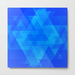 Bright blue and celestial triangles in the intersection and overlay. Metal Print