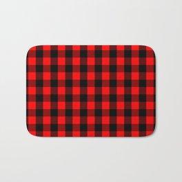 Classic Red and Black Buffalo Check Plaid Tartan Bath Mat