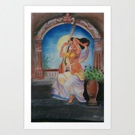 Traditional Girl- Water Color Art Art Print