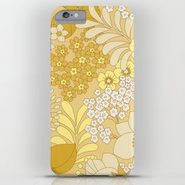 Yellow, Ivory & Brown Retro Floral Pattern iPhone Case