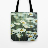 daisies Tote Bags featuring daisies by Bonnie Jakobsen-Martin