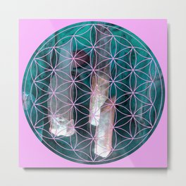 Crystal flower of life | Secret Geometry Metal Print