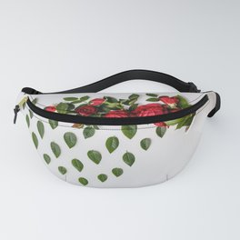 Reative image of white cup with red roses Fanny Pack