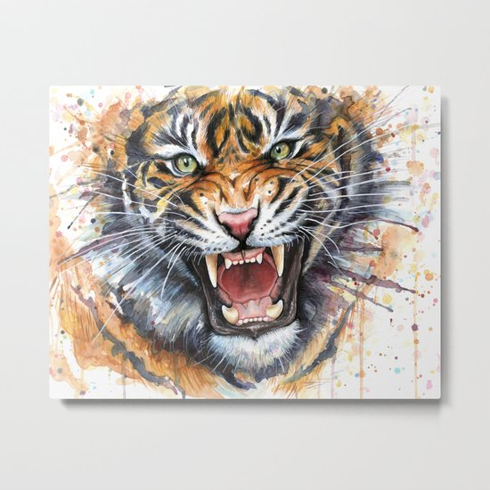 Tiger Roaring Wild Jungle Animal Metal Print