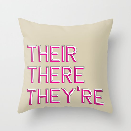 Their, There, They're Throw Pillow