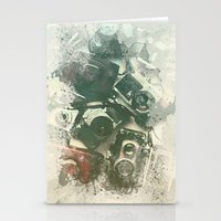 cameras Stationery Cards featuring Old Cameras by Nechifor Ionut