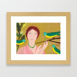 Woman with Parrots Framed Art Print