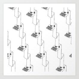 typewriter continuous typing pattern Art Print