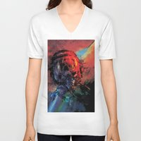 spaceman V-neck T-shirts featuring Spaceman by Karen Donald