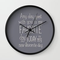 "winnie the pooh Wall Clocks featuring  Winnie the Pooh quote  ""FAVORITE""  by SimpleSerene"