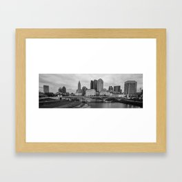Columbus Ohio Skyline Riverfront Panorama - Black and White Framed Art Print