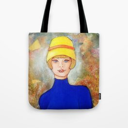 Lady in a yellow hat Tote Bag