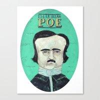 edgar allan poe Canvas Prints featuring Edgar Allan Poe by Mary Kate McDevitt