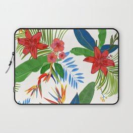 Heaven Bird Flower, Lily and Frangipani Tropical Flowers Pattern Laptop Sleeve