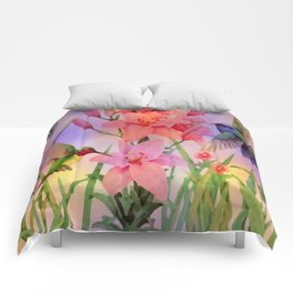 Painterly Hummingbirds And Flowers Comforters