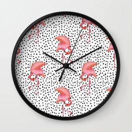 Flamingos and Polka Dots by Katrina Ward Wall Clock