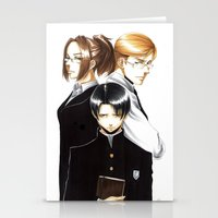 shingeki no kyojin Stationery Cards featuring OriSor Shingeki No Kyojin High School Fanart by Mistiqarts by Mistiqarts