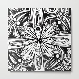 Black and White Line Design Metal Print