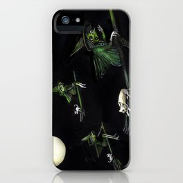Three Witches on Brooms with the Moon.  iPhone Case