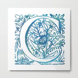 Letter C Antique Floral Letterpress Monogram Metal Print