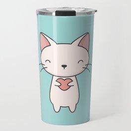 Kawaii Cute Cat With Heart Travel Mug