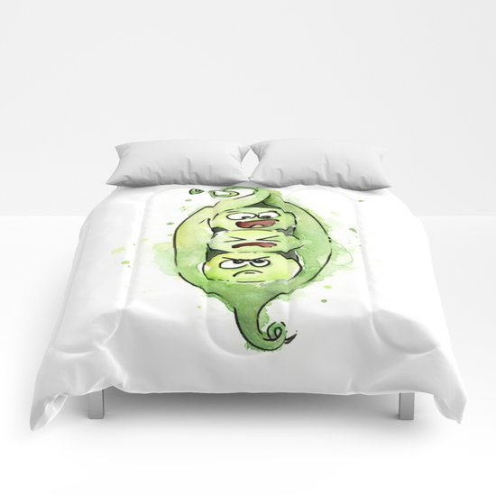Peas in a Pod Funny Whimsical Siblings Watercolor Comforters