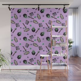 Purple Witches Brew & Fairy Dust Pattern Wall Mural