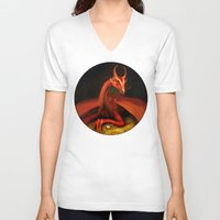 smaug V-neck T-shirts featuring Smaug by Julia Lundgren