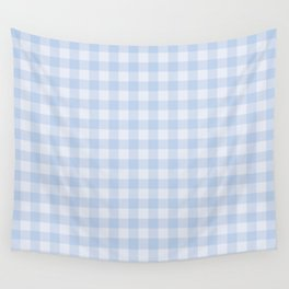 Gingham Pattern - Blue Wall Tapestry