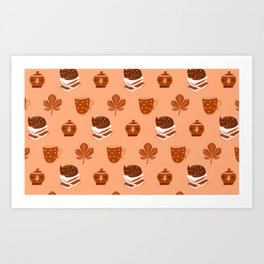 Fall Autumn Season Pattern Cats Tea Cups & Books Cute For Animal Lovers Art Print