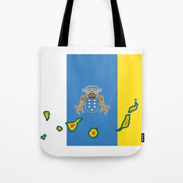 Canary Islands Flag with Map of the Canary Islands Islas Canarias Tote Bag