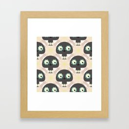 Cute pattern with funny skulls and flowers Framed Art Print