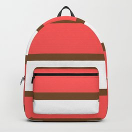 Chocolate Brown + Coral:  Stripe Stripe Backpack