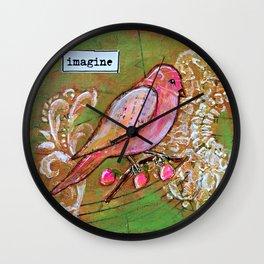 Imagine - Mixed Media Bird Wall Clock