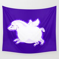 fat Wall Tapestries featuring Fat Pegasus by Fauna Follies