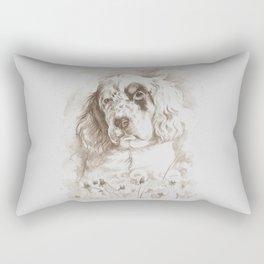 English Setter puppy Monochrome sgraffito Rectangular Pillow