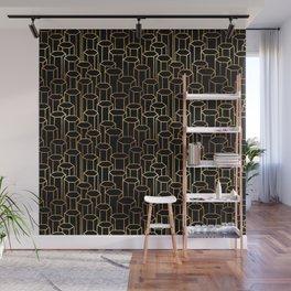 Hexagonal Columns \\ Black & Gold Wall Mural