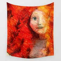 redhead Wall Tapestries featuring brave RedHead  by Julia Kovtunyak