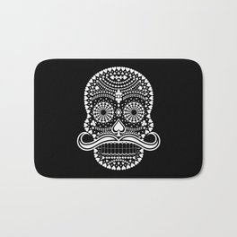 Black Skull  White Suits Bath Mat