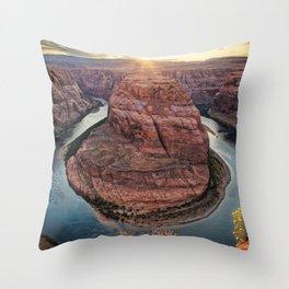 HORSESHOE BEND SUNSET ARIZONA LANDSCAPE PHOTOGRAPHY Throw Pillow
