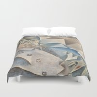 pablo picasso Duvet Covers featuring Portrait of Pablo Picasso by ArtMasters