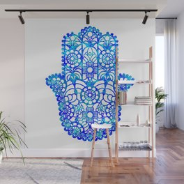 Blue Watercolor Hamsa Wall Mural