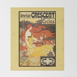 Vintage American art nouveau Bicycles ad Throw Blanket