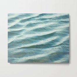 Water Abstract Photography, Ocean Ripples, Blue Teal Sea Metal Print