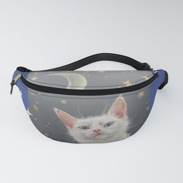 White cat at night Fanny Pack