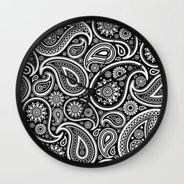 Oriental Persian Paisley, Dots - Black White Wall Clock