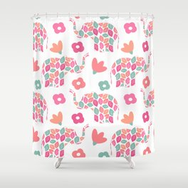 cute colorful abstract pattern background with leaves elephants and flowers Shower Curtain