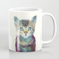 kitten Mugs featuring Cat // Aware by Amy Hamilton