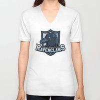 quidditch V-neck T-shirts featuring Hogwarts Quidditch Teams - Ravenclaw by Deadround