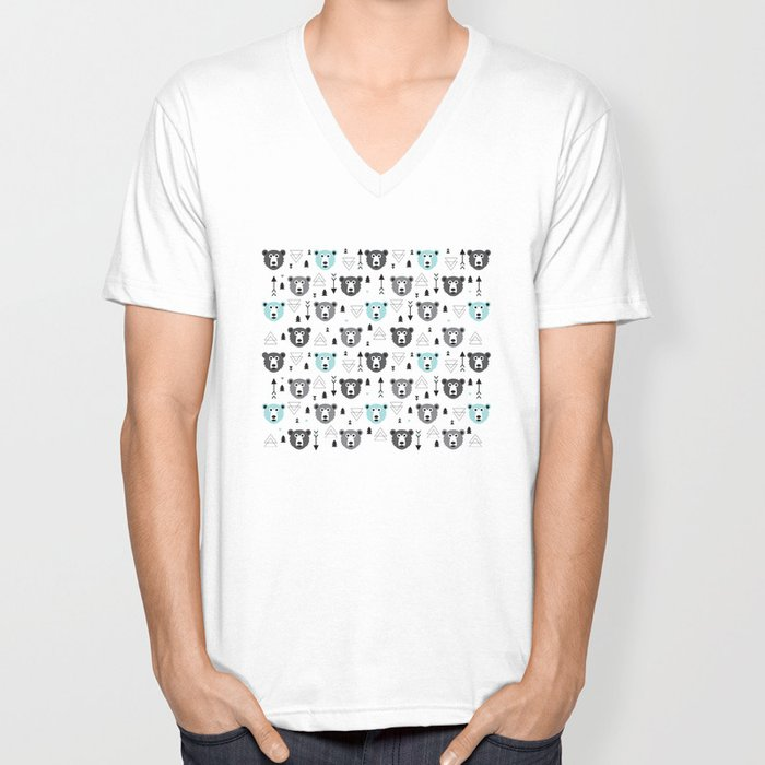 Geometric grizzly bear and arrows Unisex V-Neck